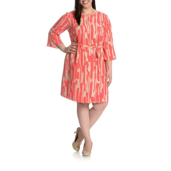 Tahari Arthur S. Levine Women's Plus Size Abstract Printed Self Tie Belt Shift Dress