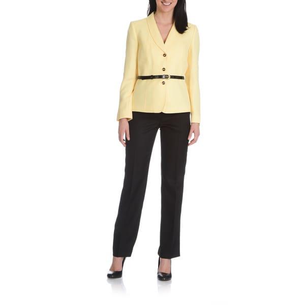 Tahari Arthur S. Levine Women's 2-piece Woven Chevron Pant Suit