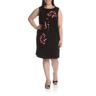 Tahari Arthur S. Levine Women's Plus Size Novelty Cut-Out 2-Tone Shift Dress