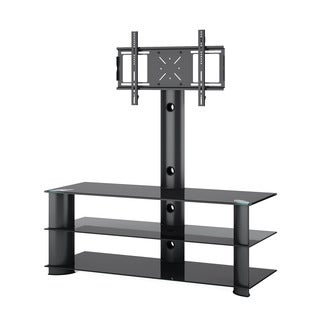 CorLiving TRL-601-T Laguna Satin Black TV Stand with Mount