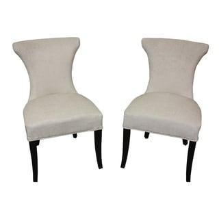 Cosmo Two-tone Slate Velvet/ White Regency Dining Chair (Set of 2)