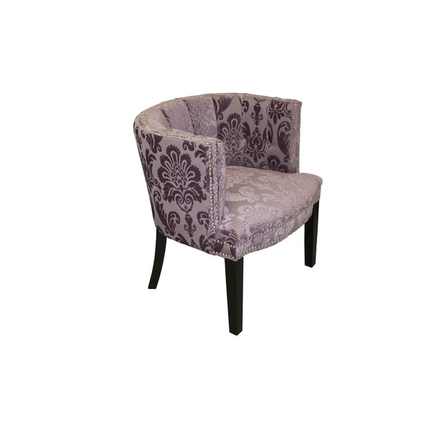 Bohemian Black Plum Fan Damask Arm Chair