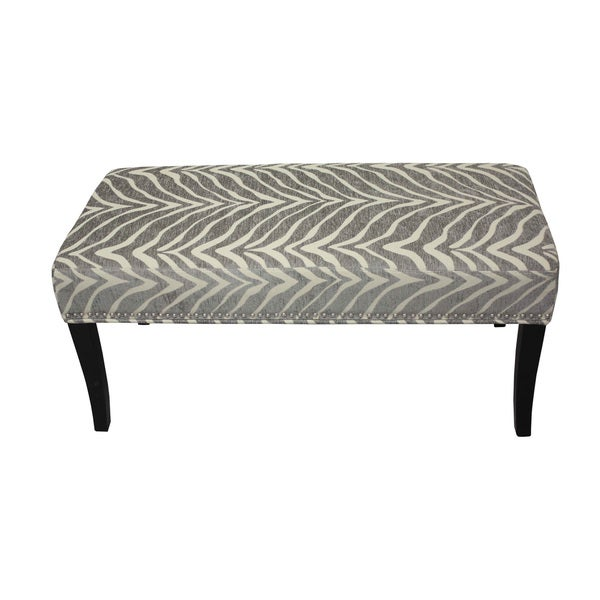 Cream and Grey Zebra Chenille 40-inch Bench