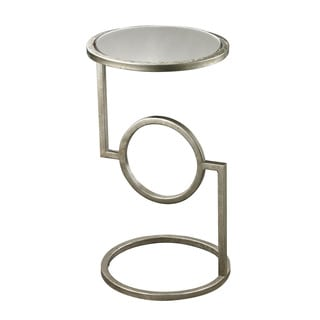 LS Dimond Home Antiqued Mirrored Top Hurricane Side Table