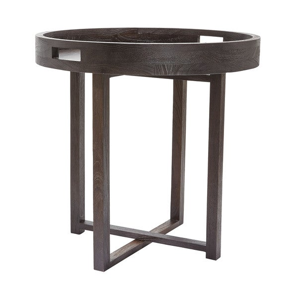 LS Dimond Home Large Round Black Teak Side Table Tray