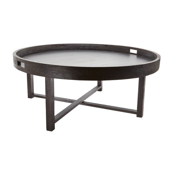 LS Dimond Home Round Black Teak Coffee Table Tray