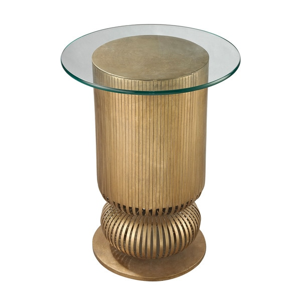 LS Dimond Home Gold Leaf Sock Bun Side Table