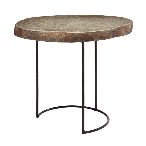 LS Dimond Home Short Stone Slab and Wire Frame Table