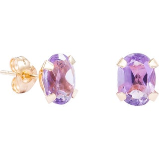 Pori 14k Yellow Gold Oval-cut Genuine Amethyst Stud Earrings