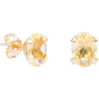 Pori 14k Yellow Gold Oval-cut Genuine Citrine Stud Earrings