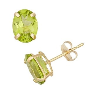 14k Yellow Gold Oval-cut Genuine Peridot Stud Earrings