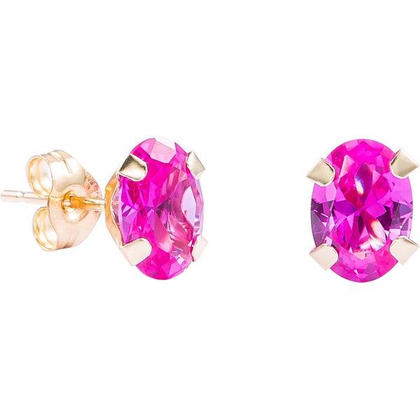14k Yellow Gold Oval-cut Genuine Pink Sapphire Stud Earrings