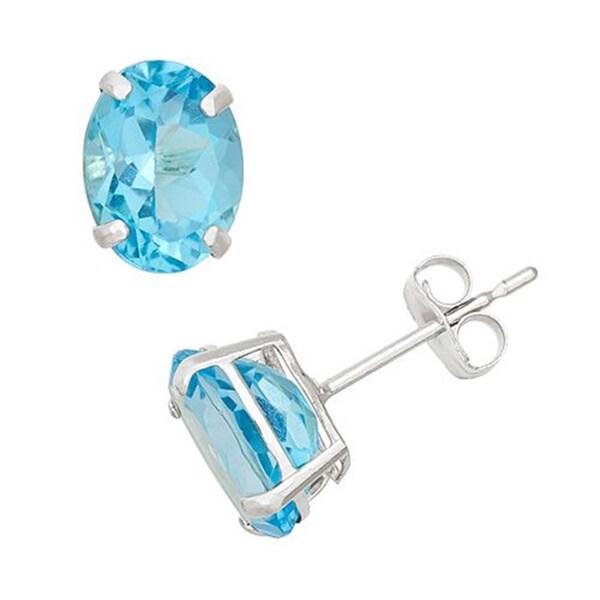14k White Gold Oval-cut Genuine Blue Topaz Stud Earrings
