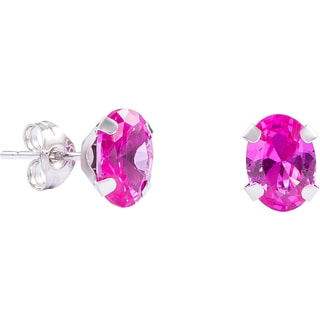Pori 14k White Gold Oval-cut Genuine Pink Sapphire Stud Earrings