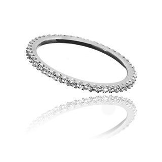 14k White Gold Eternity Cubic Zirconia Ring