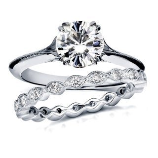 Annello 14k White Gold Moissanite and 2/5ct TDW Diamond Antique Geometric Flower Bridal Rings Set (G