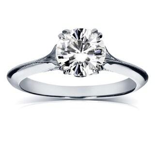 Annello 14k White Gold Moissanite and Diamond Engagement Ring (G-H, I1-I2)