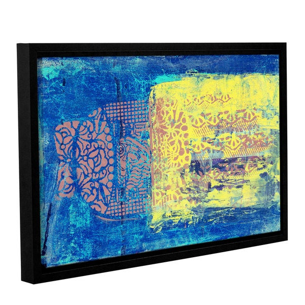 ArtWall Elena Ray ' Blue With Stencils ' Gallery-Wrapped Floater-Framed Canvas 15790249