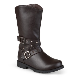 Journee Kids' 'C45' Studded Buckle Boots