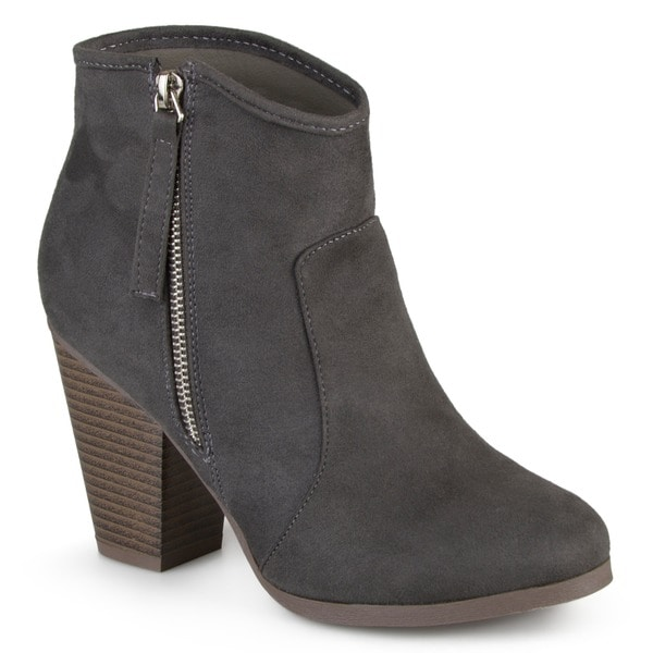 Journee Collection Women's 'Link' High Heel Faux Suede Ankle Boots