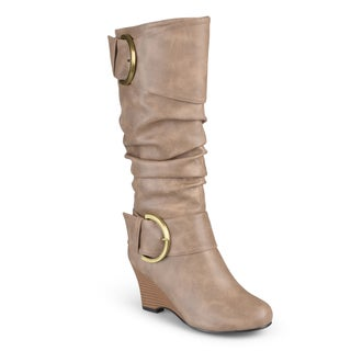 Journee Collection Women's 'Meme' Tall Faux Leather Buckle Boots