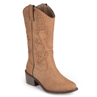 Journee Collection Women's 'Oater' Round Toe Topstitched Western Boots