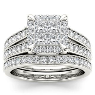 De Couer 14k White Gold 1 1/2ct TDW Diamond Halo Engagement Ring Set with One Band (H-I, I2)