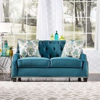 Furniture of America Elsira Premium Velvet Cerulean Blue Loveseat