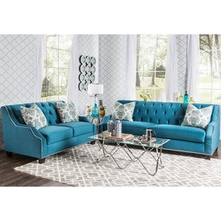 Furniture of America Elsira Premium Velvet 2-piece Cerulean Blue Sofa Set