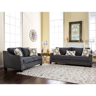 Furniture of America Salma Contemporary 2-piece Charcoal Premium Fabric Sofa Set