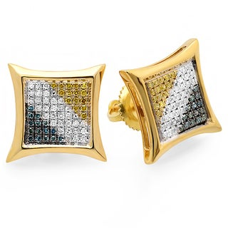 18k Yellow Goldplated Silver 1/3ct TDW Multi-colored Diamond Kite Stud Earrings (I-J, I2-I3)