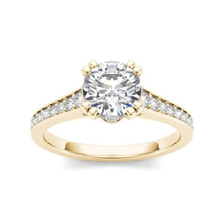 De Couer 14k Yellow Gold 1 1/2ct TDW Diamond Classic Engagement Ring (H-I, I2)