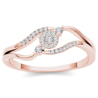 De Couer 10k Rose Gold 1/8ct TDW Diamond Bypass Cluster Ring (H-I, I2)