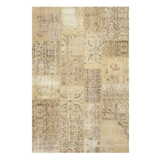 EORC Hand Knotted Wool Beige Turkish Patch Rug (5'6 x 8'4)
