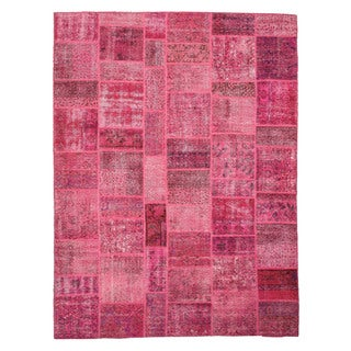 EORC Hand Knotted Wool Pink Turkish Patch Rug (9'1 x 12'1)