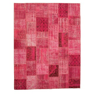 EORC Hand Knotted Wool Pink Turkish Patch Rug (8'10 x 11'5)