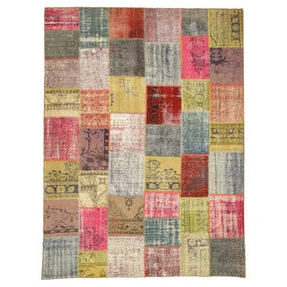 EORC Hand Knotted Wool Multi Turkish Patch Rug (9'2 x 12'3)