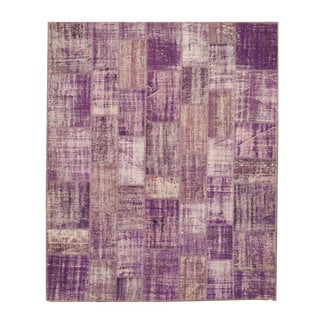 EORC Hand Knotted Wool Purple Turkish Patch Rug (8'6 x 10'4)