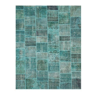 EORC X35910 Green Hand-knotted Wool Turkish Patch Rug (10' x 14'2)