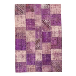 EORC X35360 Purple Hand-knotted Wool Turkish Patch Rug (6'9 x 10'2)