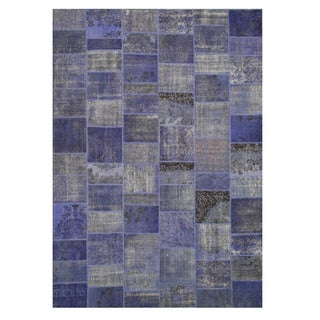 EORC X35911 Blue Hand-knotted Wool Turkish Patch Rug (9'11 x 14')