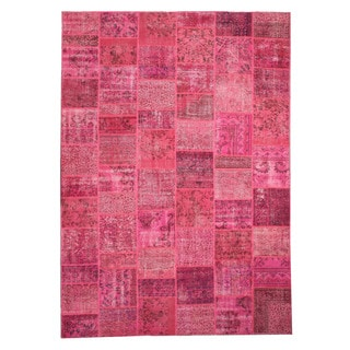 EORC X35912 Pink Hand-knotted Wool Turkish Patch Rug (10'1 x 14'1)