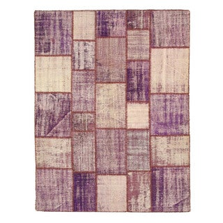 EORC Hand Knotted Wool Purple Turkish Patch Rug (6'7 x 8'7)
