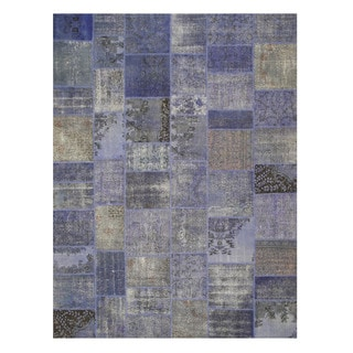 EORC Hand Knotted Wool Blue Turkish Patch Rug (9' x 12')