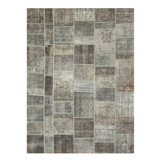 EORC Hand Knotted Wool Grey Turkish Patch Rug (9' x 12')