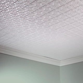 Fasade Traditional Style #1 Matte White 2-foot x 4-foot Glue-up Ceiling Tile