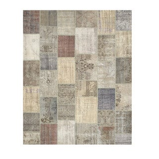 EORC Hand Knotted Wool Grey Turkish Patch Rug (8'6 x 10'3)