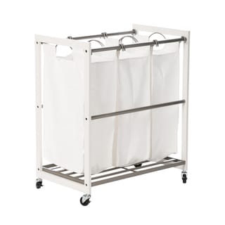 Trinity 3-Bag White Wood Laundry Cart - Champagne Poles