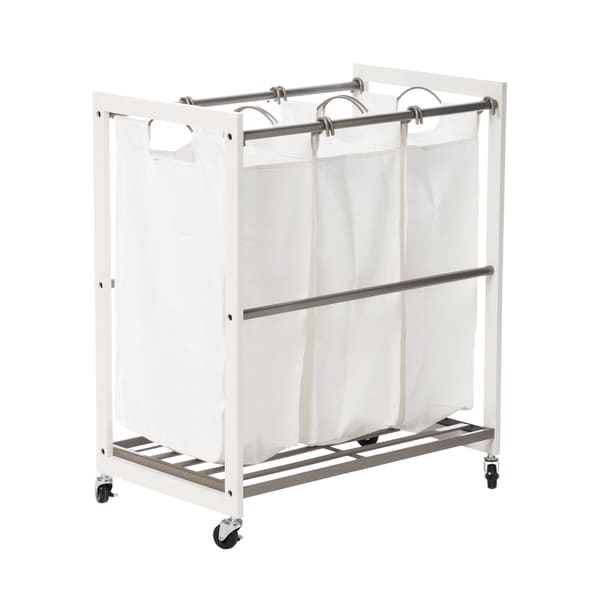 Trinity 3-Bag White Wood Laundry Cart - Champagne Poles