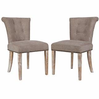 angelo:HOME Lexi Parisian Tan-Grey Velvet Dining Chair (Set of 2)